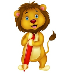 Cute lion cartoon holding red pencil vector image vector image