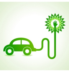 Electric car with green tree concept vector