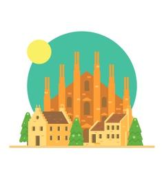 Flat design of Duomo di Milano Italy with village vector image