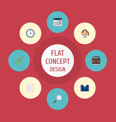 Flat icons calendar group goal and other vector