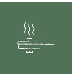 Frying pan with cover icon drawn in chalk vector