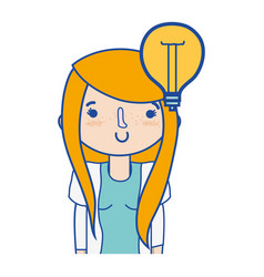 girl with bulb idea and hairstyle design vector image