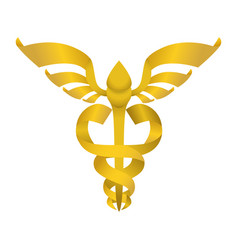 Isolated golden caduceus emblem vector