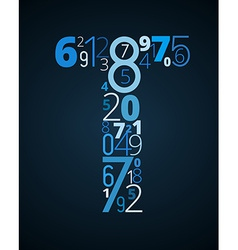 Letter t font from numbers vector