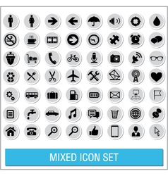 Mixed icon set labels vector image vector image