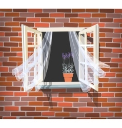Open window with lavender vector