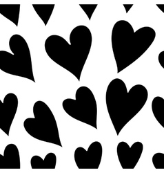 Seamless monochrome pattern with hearts vector image vector image