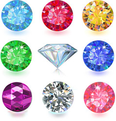 Set of colored gems vector image vector image