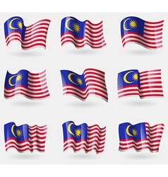 Set of Malaysia flags in the air vector image