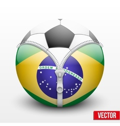 Soccer ball inside brazil symbol vector