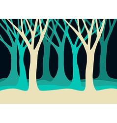 Tree silhouettes landscape in blue colors vector image