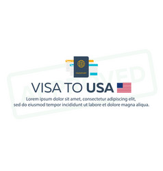 visa to usa travel to usa document for travel vector image