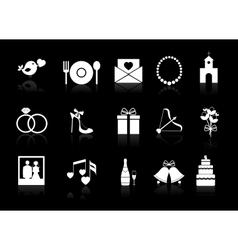 wedding icons on a black background vector image vector image