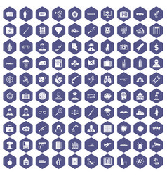 100 antiterrorism icons hexagon purple vector
