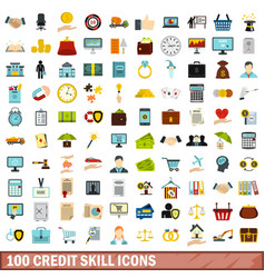 100 credit skill icons set flat style vector