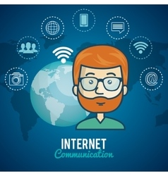 Cartoon man communication internet global graphic vector