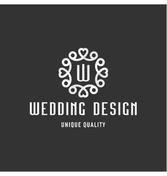Wedding sign in the form of an ornament with vector