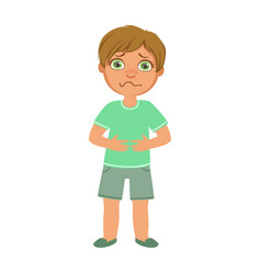 Boy with stomach crampssick kid feeling unwell vector