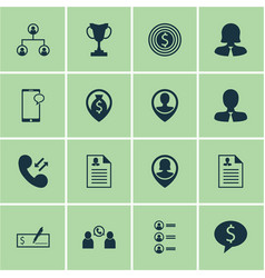 Set of 16 management icons includes cellular data vector