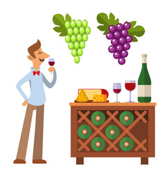 Sommelier in suite looking at red wine in glass vector