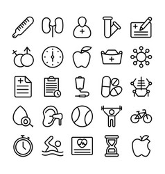 Medical health and hospital line icons 6 vector