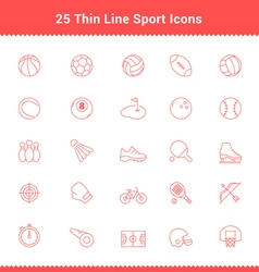 Set of thin line stroke sport icons vector