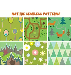 Nature seamless patterns set with tree flowers vector