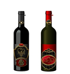 wine bottles with label vector image