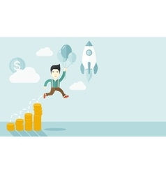Asian businessman holding balloons vector