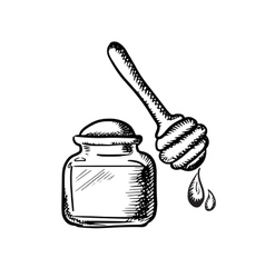 Honey jar with wooden dipper sketch vector