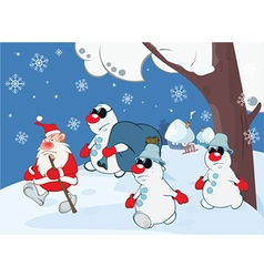 Cute santa claus gangster gang vector