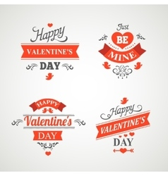 Set of happy valentine day hand lettering - vector