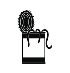 Tin of earthworms black simple icon vector