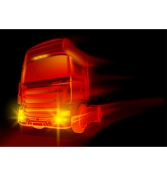 Red glowing truck vector