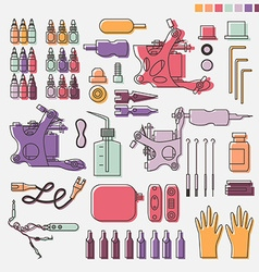 Tattoo kit and colorful equipment vector