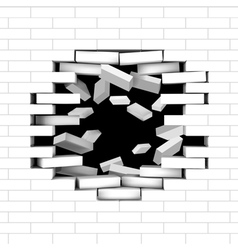 White broken brick wall vector