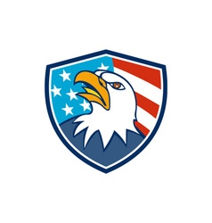 American bald eagle head looking up flag crest vector