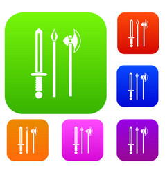 ancient weapon sword pick and axe set collection vector image