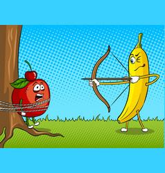 Banana bow and apple pop art vector
