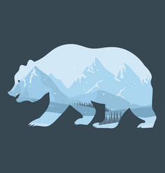 Bear and nature double exposure winter landscape vector