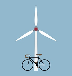 Bicycle with wind turbine vector