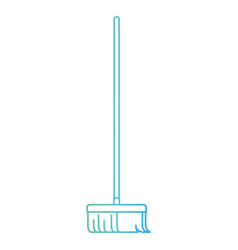 broom with wooden stick in degraded green to blue vector image vector image