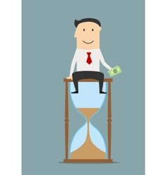 Businessman sitting on a hourglass with money vector