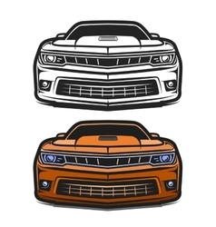Cars muscle comic set vector