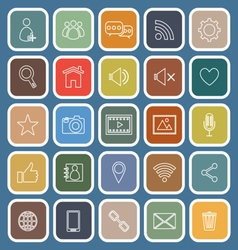 Chat line flat icons on blue background vector
