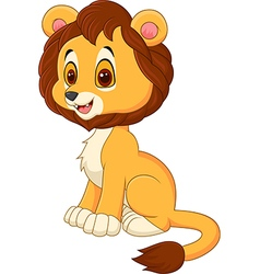 Cute baby lion walking isolated on white backgroun vector