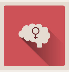 female brain on red background with shade vector image