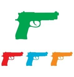 Gun sign colorfull set vector