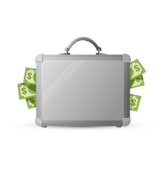 icon of metal briefcase with money isolated on vector image vector image