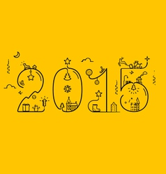 Inscription of 2015 with decoration vector image vector image